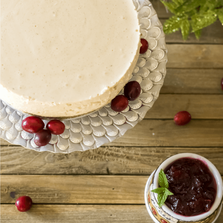 Low-Carb Eggnog Cheesecake with Cranberry Glaze (also Gluten-Free)