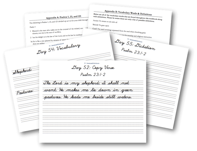 Write Through the Bible Copywork Printables for Handwriting