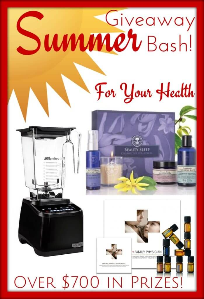Enter this Summer Giveaway Bash! For Your Health - #doTERRA, #essentialoils, #spa, #NYROrganics, #Blendtec, #blender, #smoothie. Over $700 in prizes @ GrowingUpTriplets.com