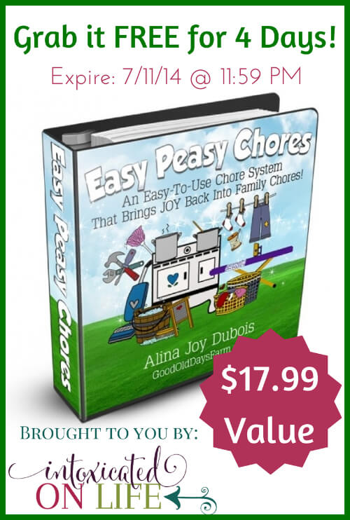 Snag Easy Peasy Chores FREE from IntoxicatedOnLife.com for 4 days only. This system will make your life easier. Expires 7/11/14 @ 11:59 PM