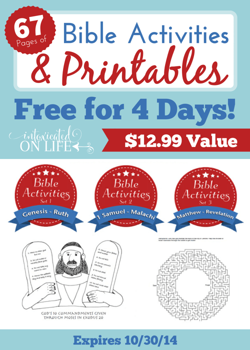 Grab 67 pages of Bible Activities and Printables FREE for 4 Days Only! @ IntoxicatedOnLife.com