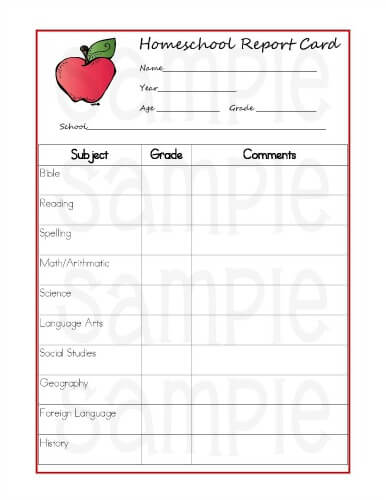 Critical image regarding printable report card template
