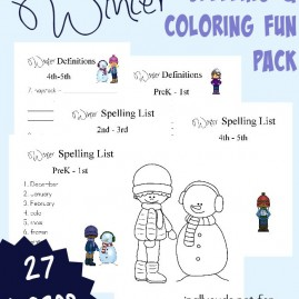 Don't let the winter blues slow down your learning. This FUN Winter themed Spelling & Coloring Pack is perfect for those cold winter days or just to change it up a bit! Includes Spelling Lists for PreK-5th grade and Coloring pages for all ages. :: www.intoxicatedonlife.com