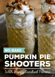 No-Bake Pumpkin Pie Shooters with Honey Candied Pecans