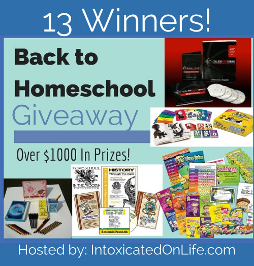 Enter to be one of 13 winners in our AMAZING Back to Homeschool Giveaway! @ IntoxicatedOnLife.com #Homeschool #GIveaway