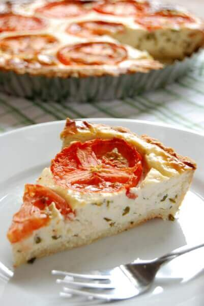 Tomato Basil Cheese Pie with Parmesan Rosemary Crust (gluten-free)