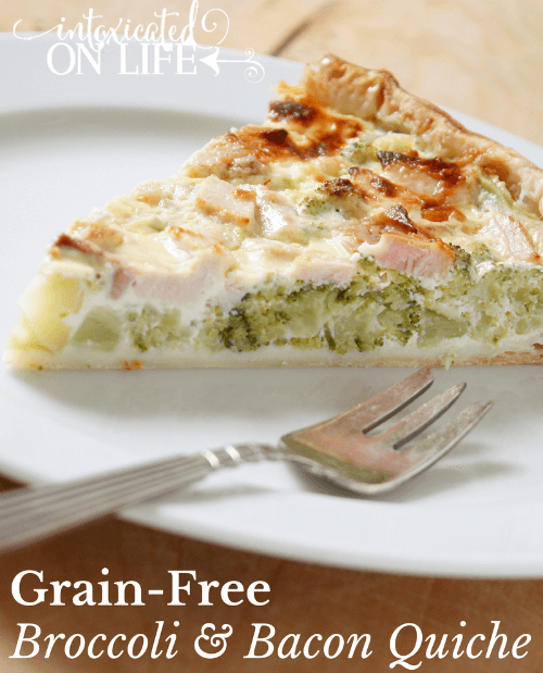 Learn how to make this amazing Grain-Free Cheesy Broccoli and Bacon Quiche. @ IntoxicatedOnLife.com #GrainFree #GlutenFree #HealthyRecipes
