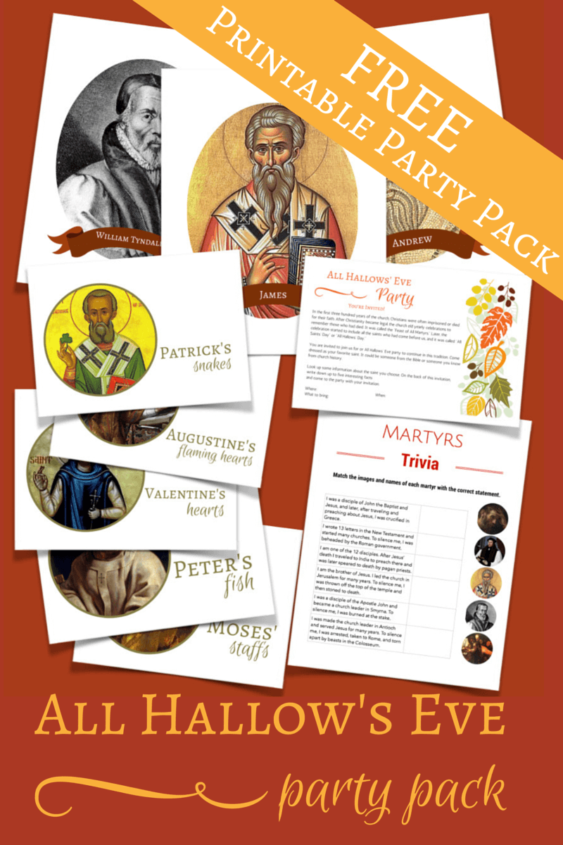 Grab this free All Hallow's Eve printable party pack! This would make a fantastic halloween alternative with your kids. Have fun learning about past saints. @ IntoxicatedOnLife.com #Halloween #AllSaintsDay #AllHallowsEve #HalloweenAlternative #Freebie #Printables