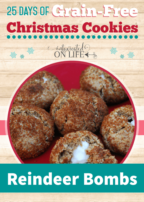 Your kids will LOVE these healthy, grain-free cookies - reindeer bombs filled with homemade marshmallows!