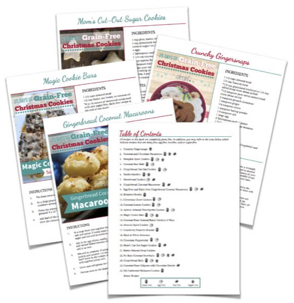 25 Days of Grain-Free Christmas Cookies Cookbook Collage