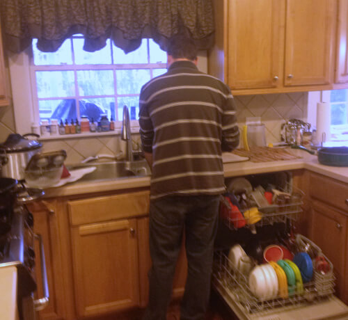 My amazing husband on dishes duty!
