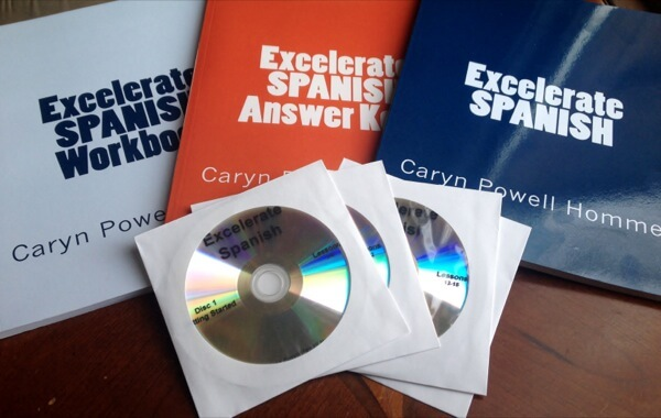 Excelerate Spanish uses a TPR approach—Total Physical Response—pairing vocabulary with action, stories, visuals, writing, and fun activities. https://www.intoxicatedonlife.com/2015/02/11/user-friendly-spanish-curriculum-excelerate-spanish/