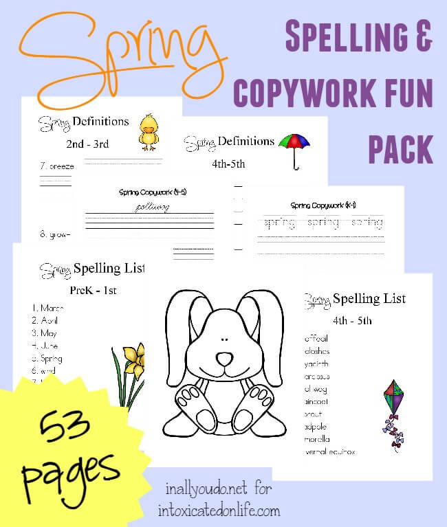 Spring is HERE!! Kids will have fun learning with this FREE Spring Spelling, Copywork and Fun Pack. {53 pages} :: www.intoxicatedonlife.com