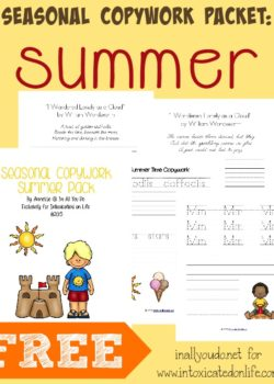Summer is fast approaching. Let your kids have fun learning with this FREE Summer Copywork Pack. {37 pages} :: www.intoxicatedonlife.com