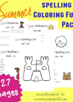 Don't let those summer months slip by with no learning. Try these fun Summer Spelling & Coloring printables for some fun learning this summer! {27 pages} :: www.intoxicatedonlife.com