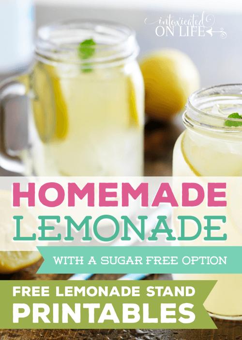 Homemade Lemonade Recipe With A Sugar Free Option -Printables