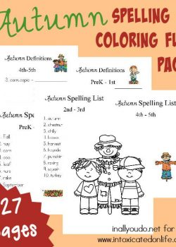 Make spelling FUN with this Autumn Spelling & Coloring Activity Pack! 27 Pages of FREE Printables for PreK-5th grade! :: www.intoxicatedonlife.com