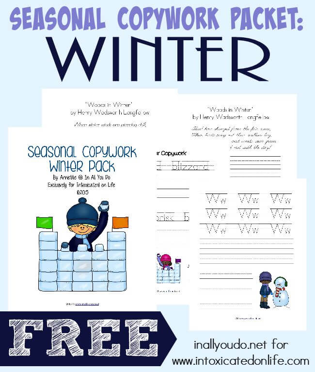 "Winter is a great time to bundle up and work on some of those handwriting skills between the holidays. This pack contains 35 pages of copywork for PreK-5th grade - including the poem ""Woods in Winter"" by Henry Wadsworth Longfellow. :: www.intoxicatedonlife.com"