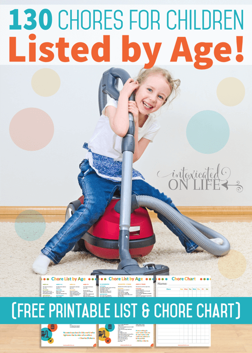 130 Chores For Children Listed By Age - With Free Printable List & Chore Chart