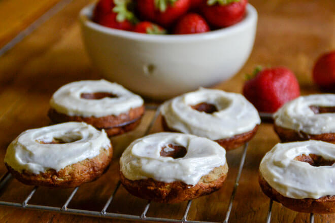 Strawberry Banana Donuts with Honey Cream Cheese Frosting