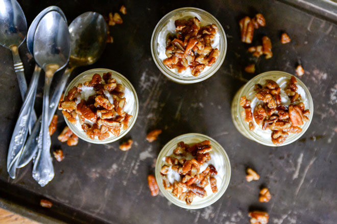These grain-free, refined sugar-free No-Bake Pumpkin Pie Shooters with Honey Candied Pecans are a delicious, fall-flavored dessert sure to impress!