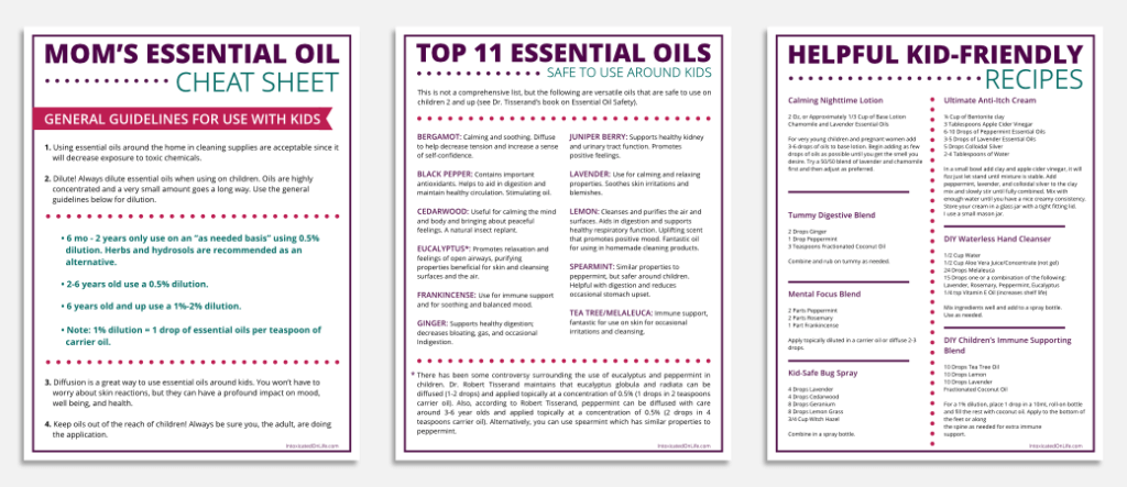 Mom's Essential Oil Cheat Sheet Pages