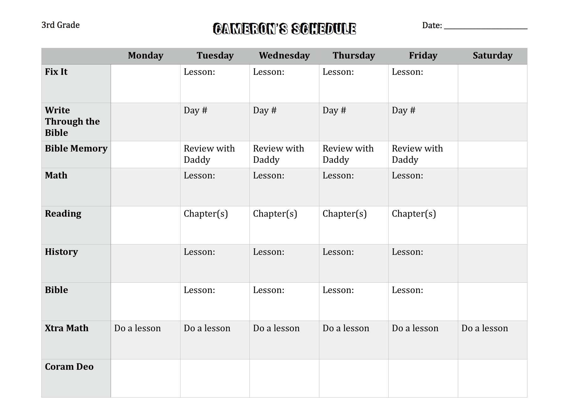 Cameron Schedule