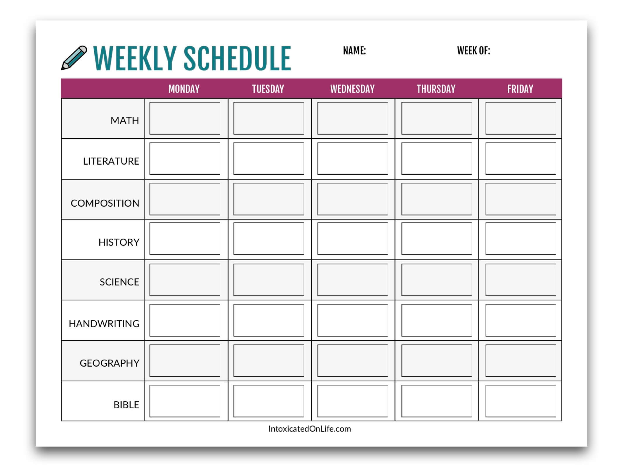 Homeschool Planning: weekly schedule